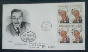 First day of issue, 1968 Honoring Walt Disney, block 4, Scott # 1355