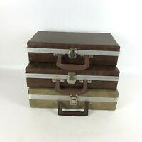 Lot of 3 Vintage Faux Leather Cassette Cases Briefcase Suitcase Style