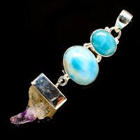"Amethyst Stalactite, Larimar 925 Sterling Silver Pendant 2 1/2"" Jewelry P706721F"