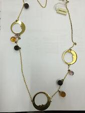 collana Braccialini donna Br0362 offerta bronzo pvd oro luna e quarzo nuovo