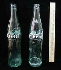 "Coca Cola Coke Bottles Green Glass Vintage Logo 1 Pint Each 11"" Set of 2"