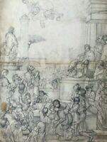 Dessin Ancien au Crayon Vintage - Scène Religieuse, Daumont, M Bancal, Néron