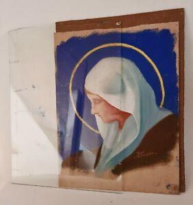 Ancien Pastel d'une Sainte Religieuse sur papier fort signé Yves CHEVALIER XXème
