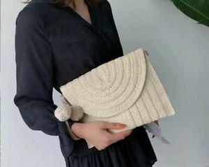 Straw Raffia Clutch Shoulder Bag