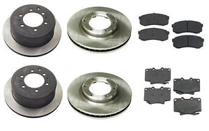 For Toyota Land Cruiser L6 4.5L Complete Brake Kit Front+Rear Pads & Rotors