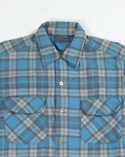 New listing Vtg 50's 60's Pendleton Board Shirt Flap Pockets Loop Collar Blue Plaid Usa M
