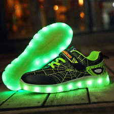 Kids Boy Spider USB Recharge Sport Shoes Girl LED Glowing Colorful Light Sneaker