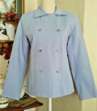 Eileen Fisher Womens XS Double Breasted Jacket Blue Cotton Twill Stretch NWT