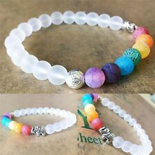 7 Chakra Colorful Yoga Energy Balance Elephant Charm Agate Stone Beaded Bracelet