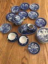 Vintage Blue Willow Pattern Porcelain Childs Tea Set 25 pcs