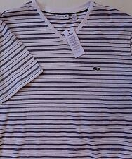 NEW  LACOSTE REGULAR FIT V-NECK COTTON STRIPED TEE size 7/XXL, made in PERU