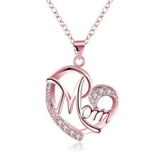 New Exquisite Women's Gold-plated Rose Gold Love Shaped AAA CZ Mom Necklace