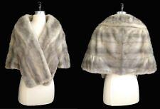 Silver MINK Fur Stole , Cerulean Real Shawl Cape , Sapphire Bridal Bolero Coat