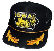 Iowa Corn Tractor State Farm  Captain Gold Leaf Snapback Mesh Trucker Hat Cap