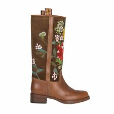 53301 auth ETRO brown suede & leather EMBROIDERED Mid-Calf Boots Shoes 38