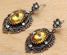 Woman's Yellow Crystal Rhinestone Silver Plated  Long Ear Stud Hoop earrings 202