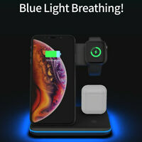 15W 3 in 1 Fast Charging Wireless Charger Pad For iPhone & iWatch & AirPods US