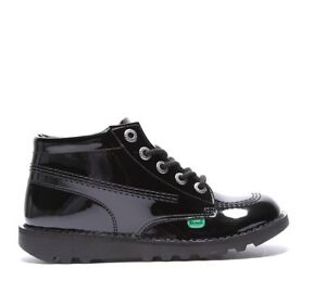 """GIRLS KICKERS """"KICK HI"""" PATENT LEATHER BOOT """"BACK TO SCHOOL"""" SHOES UK 10 TO 2"""