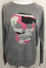 Aqua Women's Size Small Gray Long Sleeve Sweater Camouflage Skull