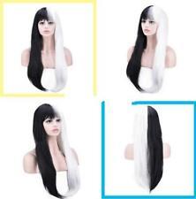 Women's Black+White Wig Hairstyle Straight Hair Haircut Dreadlocks Cosplay Wigs
