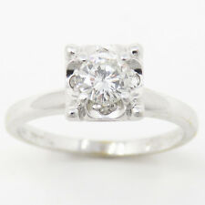 Nyjewel 14K White Gold Solitaire 0.5ct Diamond Engagement Anniversary Ring