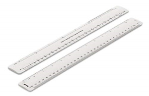 Rulex 30cm 12 inch Flat Oval Conversion Ruler - Metric Readings from Imperial