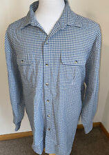 Vintage L.L Bean Seersucker Shirt L/S Sz XL Blue White Check Plaid Poly Nylon
