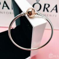NEW GENUINE PANDORA MOMENTS SILVER BANGLE WITH ROSE GOLD CLASP 580713 RRP £65