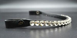 12mm CRYSTAL 1 ROW BLING DIAMANTE BROWBAND DRESSAGE FULL COB PONY WHITE COLOR