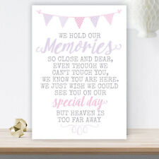 Lilac & Pink Bunting Wedding Memorial Remembrance Heaven Table Sign (LIB12)