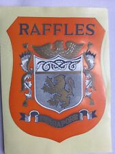 HOTEL RAFFLES Vintage 70-80s Luggage Label Decal  (SINGAPORE) Authentic unused