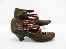 Fly London Womens Green Pink Mary Jane Heels Pumps Shoe 40 9M Pre Owned #A7