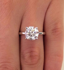 1.00 Carat Round Cut Diamond Engagement Ring White Gold Finish Silver Size 5 6