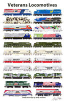 """Veterans Locomotives 11""""x17"""" Railroad Poster by Andy Fletcher signed"""