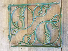 2 Cast Iron NAUTICAL MERMAID Brackets Garden Braces Shelf Bracket Book Beach