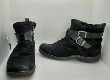 GH Bass & Co Womens 9.5 M Black Suede Fur Lined Booties Ankle Boots Zipper