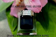 Silver Stainless Steel Sparkly 316L Adjustable Anti Allergy Toe Finger Midi Ring