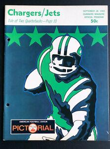 Sept 28 1969 San Diego Chargers vs New York Jets AFL Program Joe Namath