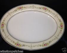 "MEITO CHINA V2144 14 1/8"" OVAL SERVING PLATTER BLUE YELLOW BORDER FLORAL SPRAYS"