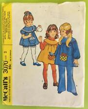 Vintage 1971 McCall's 3070 Toddler Child Dress, Pants, Applique Transfer Size 2