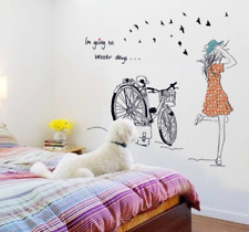 Lovely Girl Bicycle lVinyl Home Room Decor Wall Sticker Bedroom Removable Mural