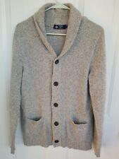 Men's J.Crew 100% Lambswool Heather Gray Shawl Neck Cardigan Sweater Size Medium