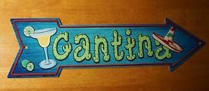 CANTINA ARROW SIGN Margarita Tropical Drink Cactus Tiki Beach Bar Home Decor NEW