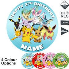 Pokemon Birthday Cake Topper Round Personalised Edible Icing