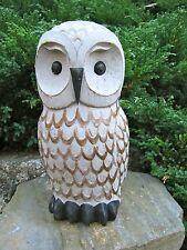Owl Figure, Painted Concrete Garden Statue, Owl Statue, Traditional Garden Decor