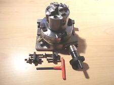 Rundteiltisch Teilapparat Rotary table neu D 75 + Adapter + Vierbackenfutter