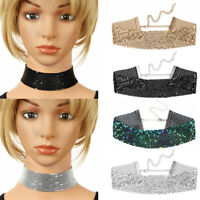 Women Girl Glittery Shiny Adjustable Wide Mesh Flat Chain Metal Chocker Necklace
