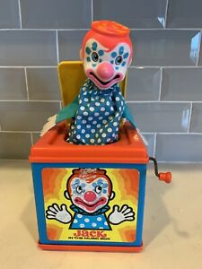 Vintage 1976 Mattel Jack In The Music Box Plays Pop Goes the Weasel Works Clown