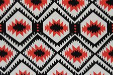 100% Viscose Navajo Inspired Print Dress Fabric Material (Black/Ivory/Tomato)