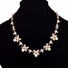 Fashion Crystal Women Chain Pendant Statement Gold Bib Pearl Necklace Flower